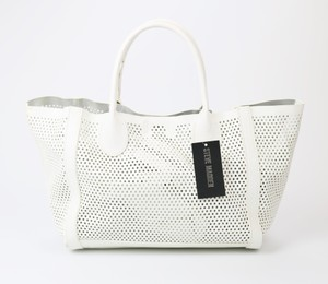 Steve Madden Woven Detachable Pouch Fuschia/white Snap Tote in White/Fuschia