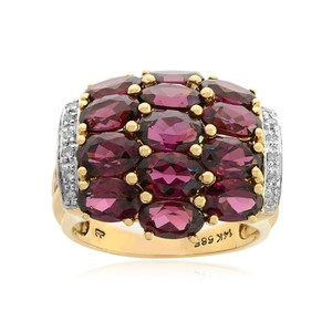 Avital & Co Jewelry Carat Oval Cut Rhodolite With Diamond Cocktail Ring 14k Yellow Gold
