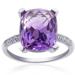 Avital & Co Jewelry 6.72 Carat Amethyst With Diamond Cocktail Ring 14k White Gold