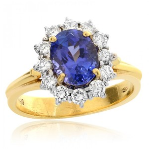 Avital & Co Jewelry 2.07ct Blue Tanzanite With 0.75 Carat Diamond Cocktail Ring 18k YG
