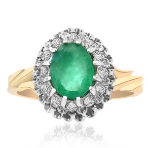 Avital & Co Jewelry 1.50 Carat Emerald And Round Cut Diamond Cluster Ring 14k Yellow Gold