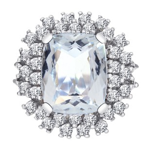 Avital & Co Jewelry Carat Aquamarine And 1.10 Carat Diamond Cluster Ring 14k White Gold