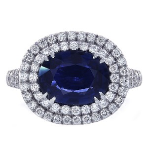 Avital & Co Jewelry 2.98 Carat Blue Sapphire And Diamond Cocktail Ring Platinum