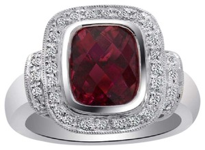 Avital & Co Jewelry 2.95 Carat Pink Tourmaline with Diamond Cocktail Ring 18K White Gold