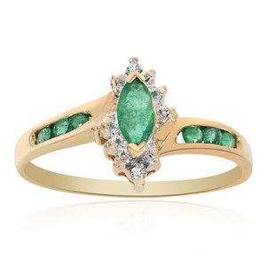 Avital & Co Jewelry 0.30 Carat Emerald And Round Cut Diamond Marquise Ring 14k Yellow Gold
