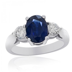 Avital & Co Jewelry 1.86 Carat Blue Sapphire With 0.50 Carat Diamond Ring 14k White Gold