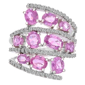 Avital & Co Jewelry 3.75 Carat Oval Cut Pink Sapphire With Diamond Cocktail Ring 14k WG