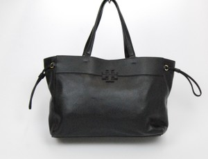 Tory Burch Leather Stacked Emblem Tote in Black