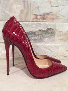 Christian Louboutin Kate Stiletto Snakeskin Python Leather red Pumps