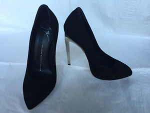 Giuseppe Zanotti Suede Silver Stiletto Black and chrome Pumps