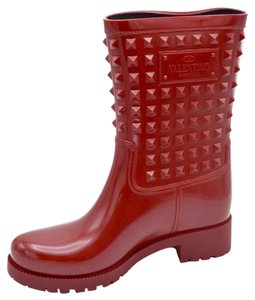 Valentino Studded Vintage Leather Rubber red Boots