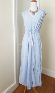 Light blue & White Maxi Dress by J.Crew Maxi Woven Striped Tassle Blue& Striped