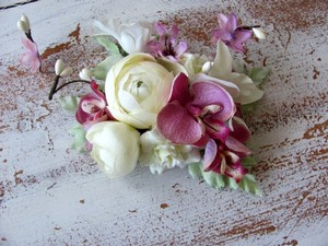 Bridal Hair Clip- Ivory And Orchid Pink