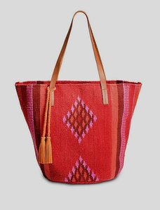 Lucky Brand Cotton Canvas Large Tote in Red-Orange, Purple
