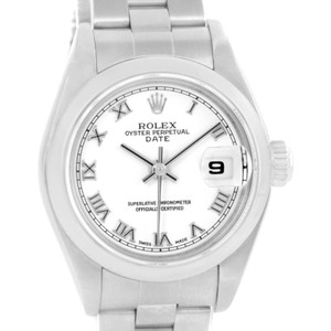 Rolex Rolex Date White Roman Dial Oyster Bracelet Ladies Steel Watch 79160