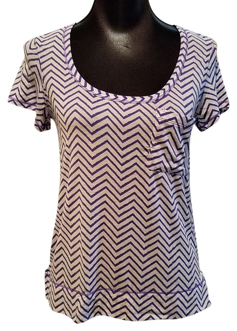 Item - Purple and White Perfect Layer Chevron Stripe Activewear Top Size 4 (S, 27)