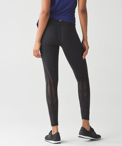Lululemon Sporty Mesh Stretchy Black Leggings