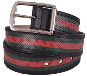 Gucci Gucci Men's 295331 Red Green Stripe Perforated Leather Belt 38 95