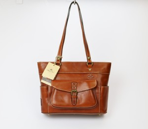 Patricia Nash Designs Rustic Contrast Stitching Buckle Leather Tote in Brown