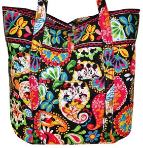 Vera Bradley Disney Mickey Mouse Minnie Mouse Midnight Quilted Tote in Multi Color