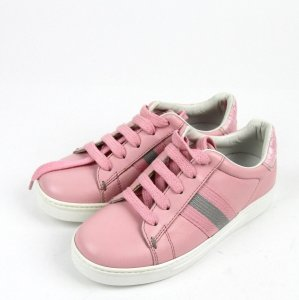 Gucci Pink W Leather Trainer Sneaker W/Web G 33/ Us 2 257771 Shoes