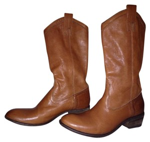 Frye Leather Distressed Cowboy Tan Boots