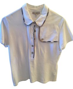 Burberry London Golf Polo Cotton Top White with piping