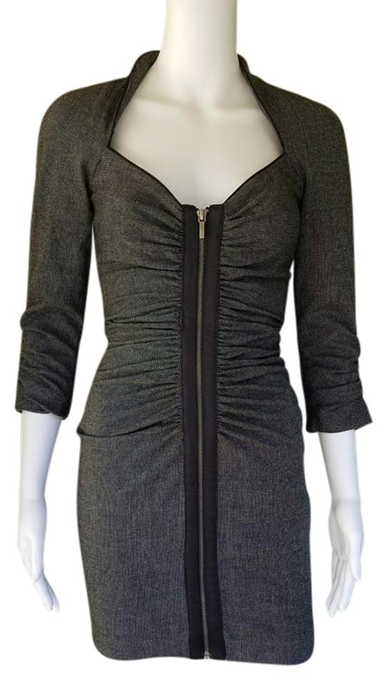 5873962a54f4 bebe Gray Black White Weave Ziop Front Bodycon Ruched Short Casual Dress