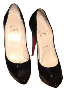 Christian Louboutin Peeptoe Louboutin Patent Patent Leather Black Platforms