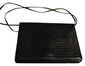 Fendi Leather Straps Black Clutch