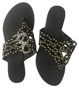 Vince Camuto Embellished Studded Leather Patent Leather Gold Hardware Black Patent/Gold Sandals