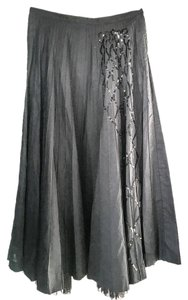 Irene Van Ryb Evening Pleated Sequins Tucked Pleats Maxi Skirt Black