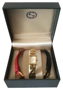 Gucci Gucci 3 in 1 Ladies Watch Gold Black Red Like New