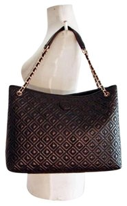 Tory Burch Leather Marion Quilted Tote in black