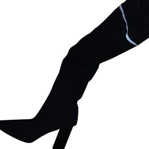Black sweater long thigh boots Boots
