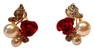 Betsey Johnson Betsey Johnson Pearl Rose Stud Earrings J2990