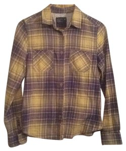American Eagle Outfitters Button Down Shirt Yellow/ lavendar