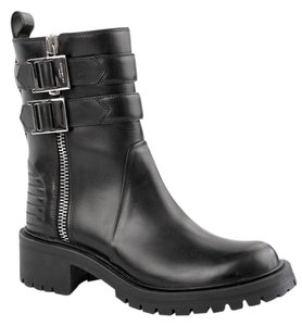 Givenchy Double Buckled Zip Ankle Moto Black Boots