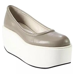 Jil Sander Gray Taupe White Wedges