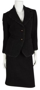 Monique Lhuillier Monique Lhuillier Black Textured Woven Skirt Suit Set