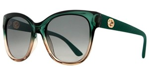 Gucci Green to Clear Gradient Oversized Sunglasses
