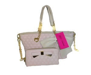 Betsey Johnson Cross Body Mini Tote in blush/bone