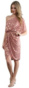 Adrianna Papell One Drape Draped Rose Gold Dress