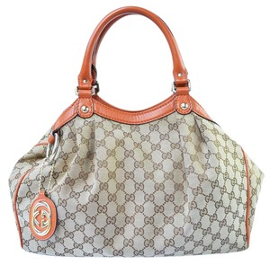 Gucci Canvas Monogram Orange Tote