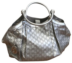 Gucci Hollywood Leather Metallic Tote in Silver Metallic