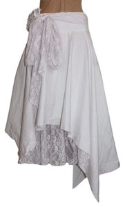 GREEN LABEL Asymmetric Lace Accent Skirt WHITE