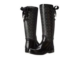 Coach Ribbons Lace Up Black Boots