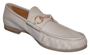Gucci Mens Leather Mens Loafers Horsebit White Formal