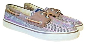 Sperry Boat Sneaker Bahama Plaid Brown, Tan, White, Pink Athletic