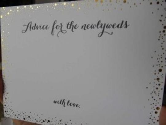 BHLDN White with Gold Foil Confetti Advice Cards